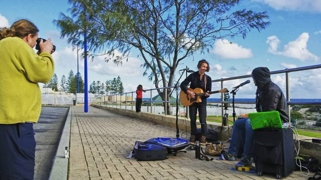 Busking at Scarborough Beach in Perth