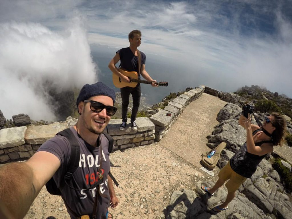 Shooting an impromptu film clip for Josh Johnstone on Table Mountain, Cape Town